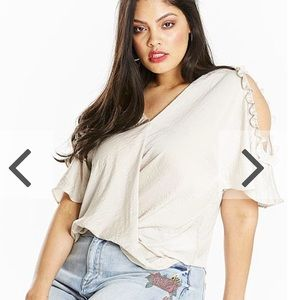 NEW! Simply Be ruffle cut out shoulder blouse